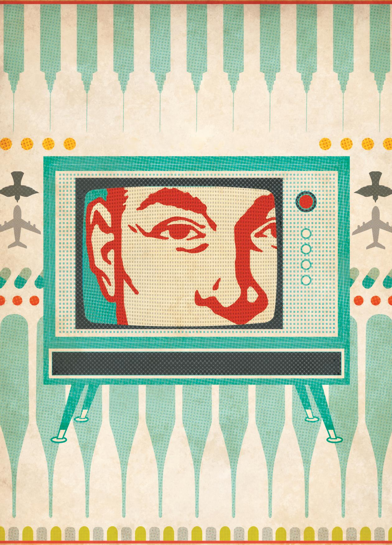 A color image showing a television with a man staring back through the screen.