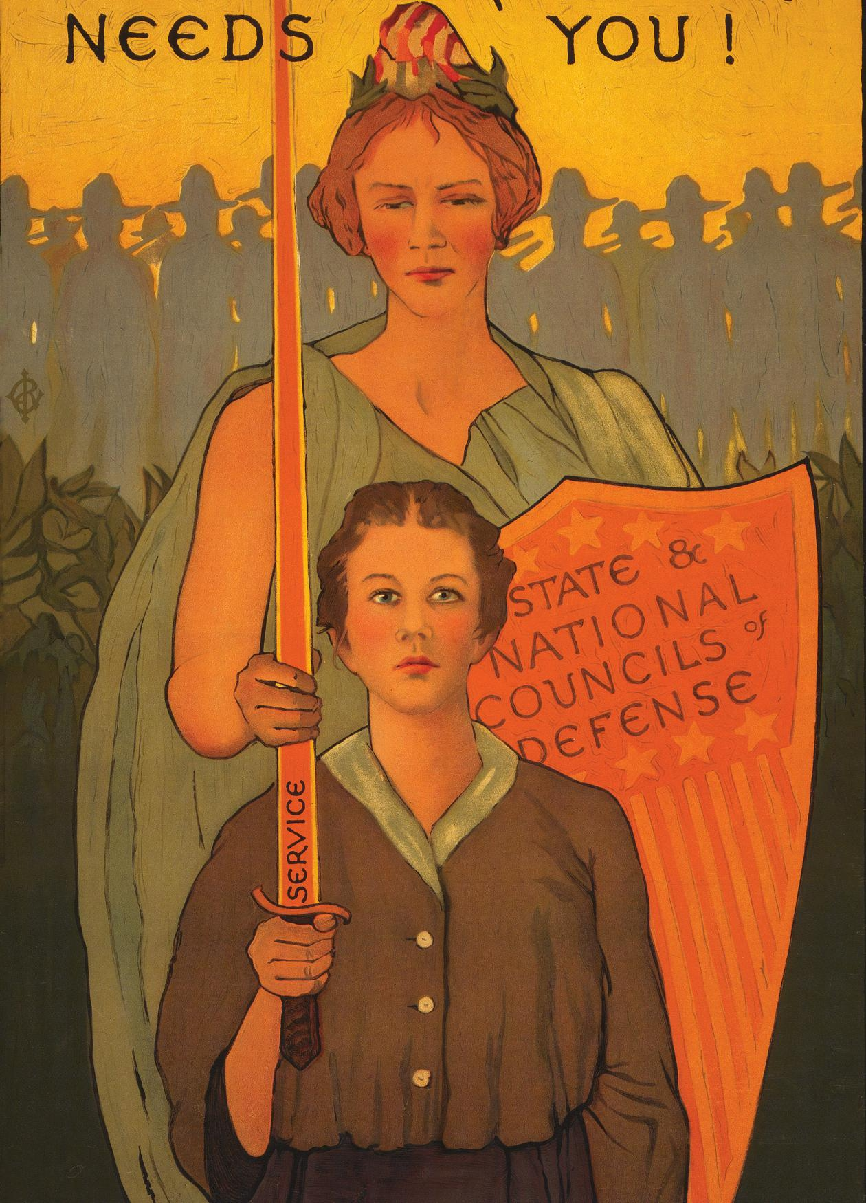 "A colorful recruiting poster for World War I that states, ""Woman, your country needs you!"""