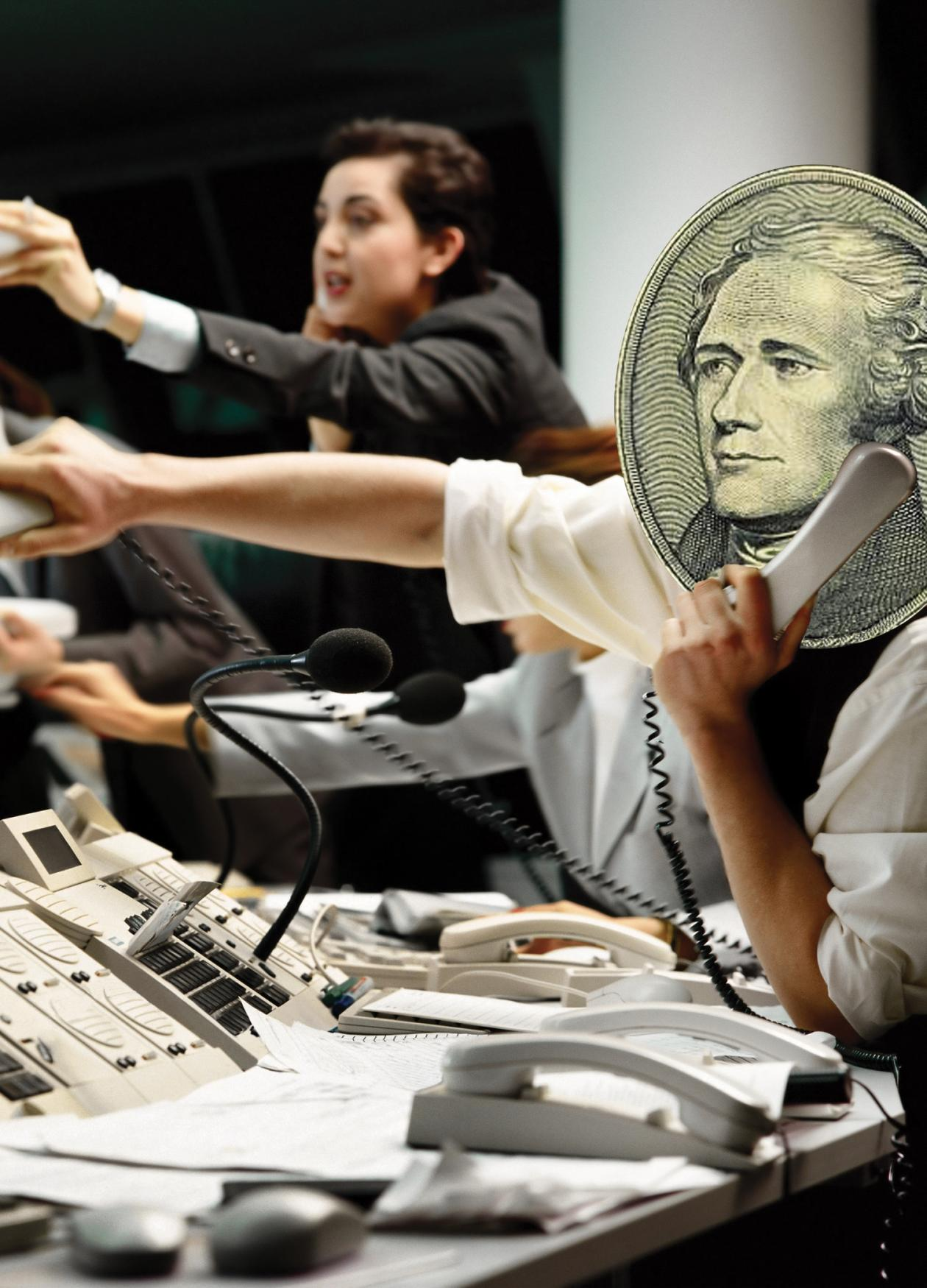 image of stock traders, Alexander Hamilton's head superimposed over one person