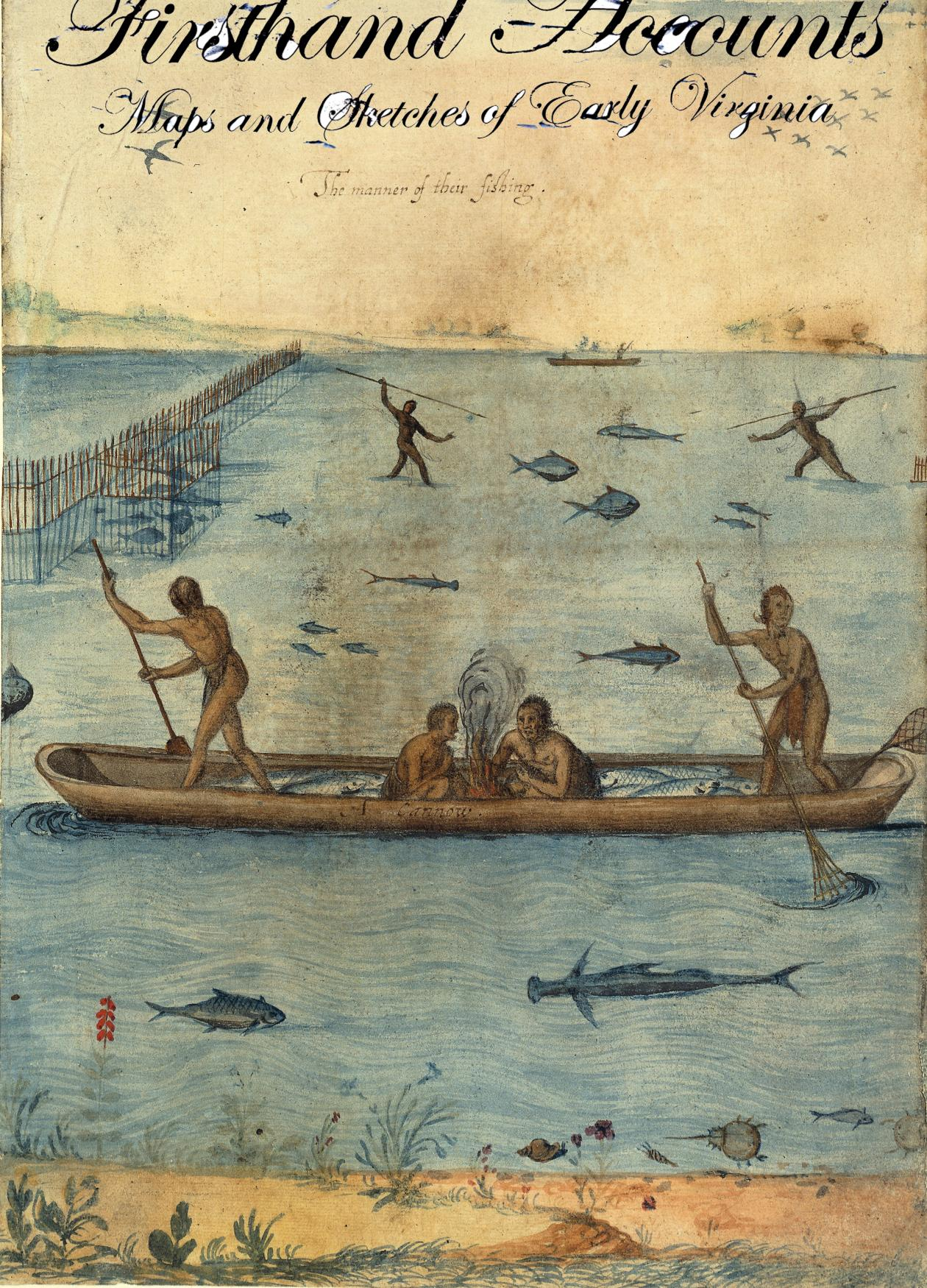 painting of Native Americans in a boat, some in water spear fishing