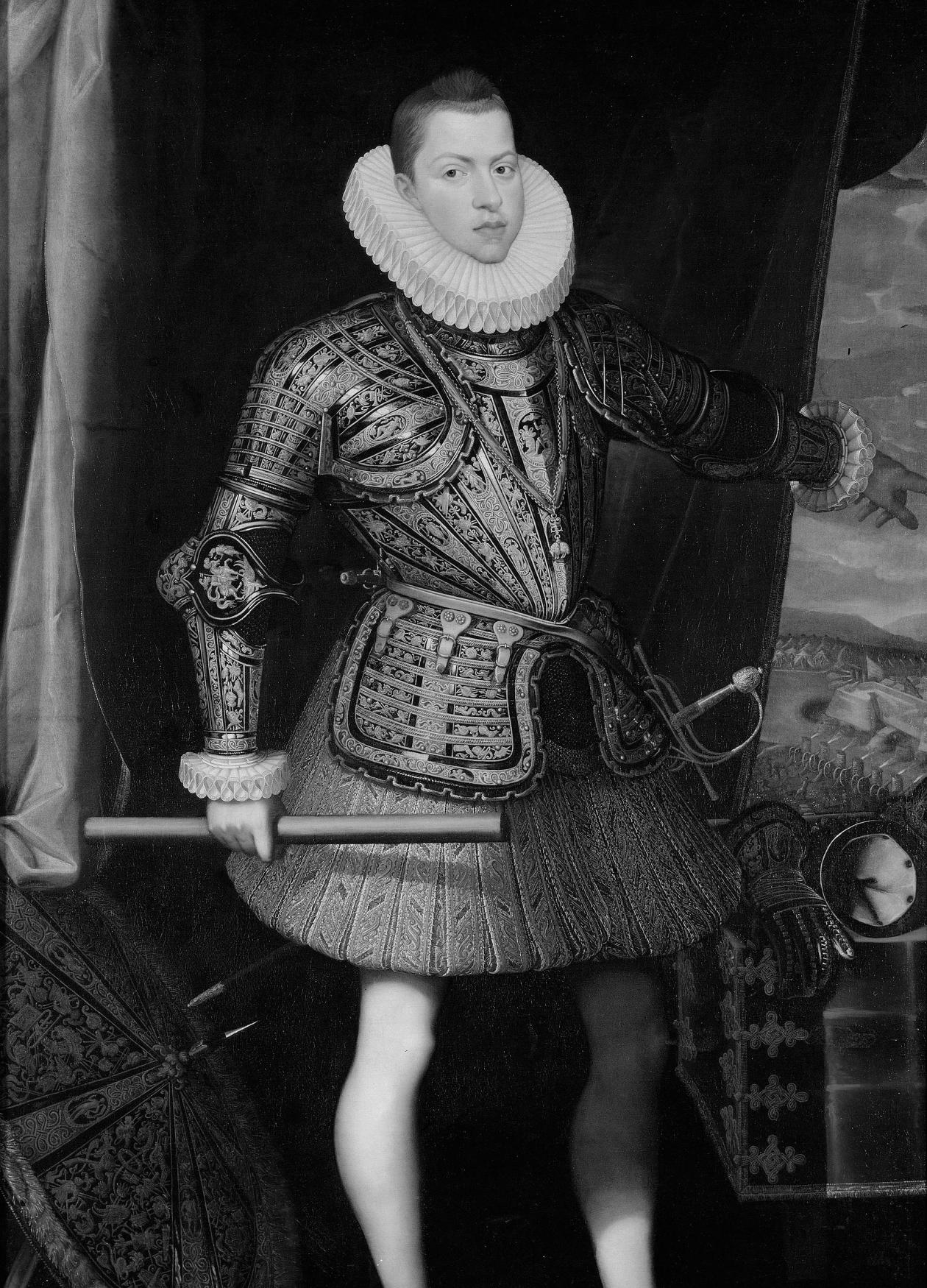 King Philip III in a high ruffled collar and armor, holding a spear