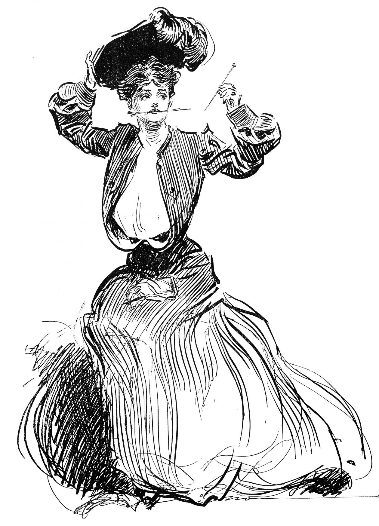 black and white drawing of a woman adjusting her hat
