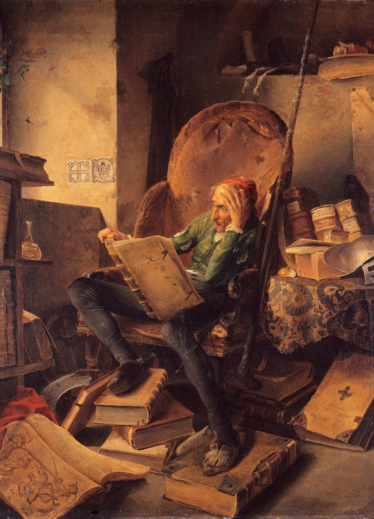painting of a haggard man sitting in a chair reading a large book, surrounding by more books