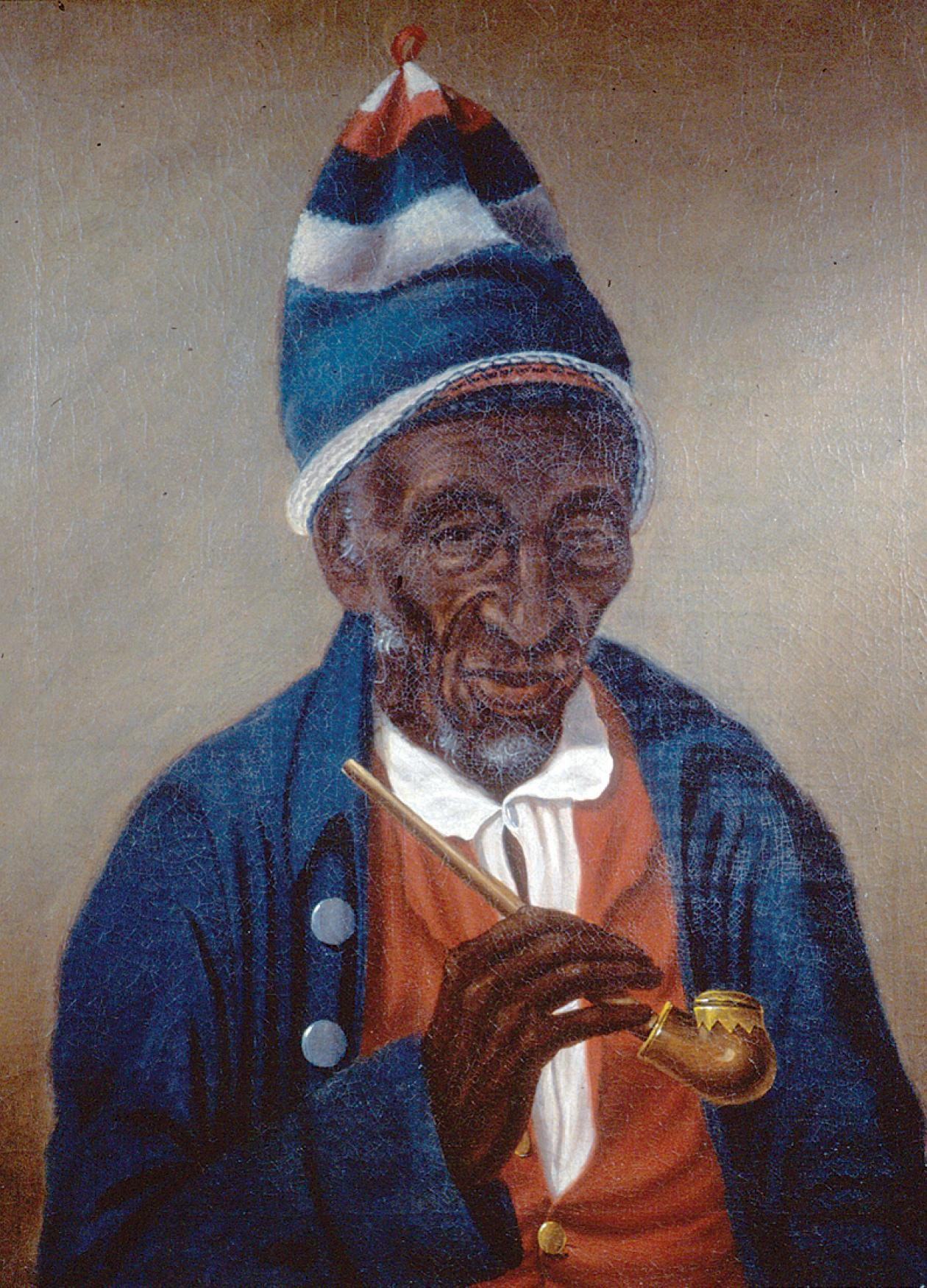 Oil painting of an African American man in a blue coat and hat with pipe
