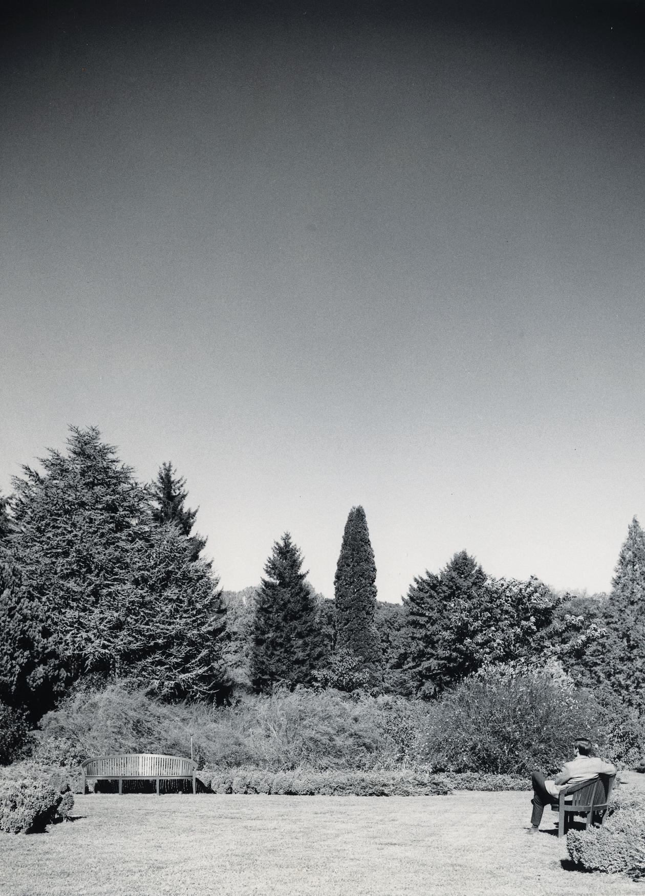 black and white photo of a large garden surrounding by trees, man sitting on bench