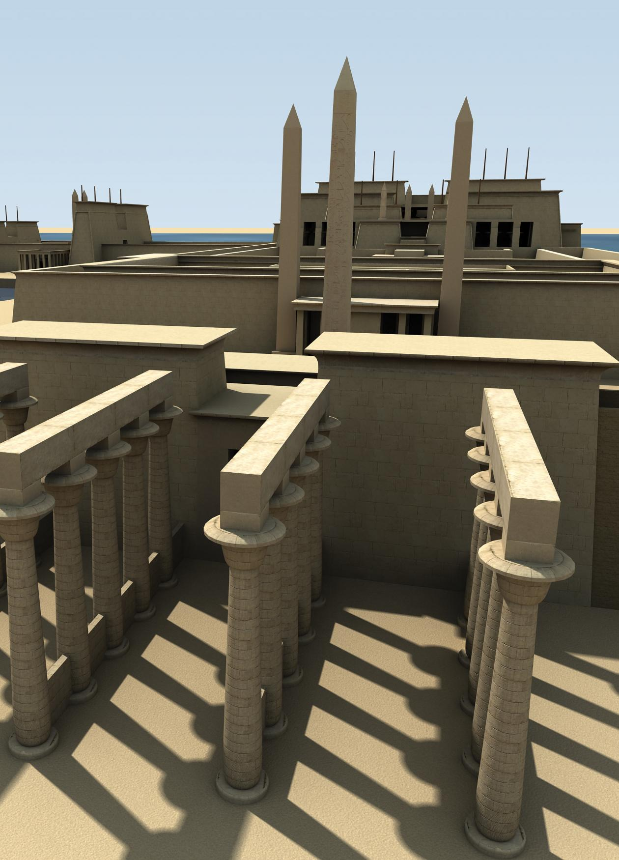 A Digital Rendering Of Four Rows Of Stone Columns Tall City Walls And A