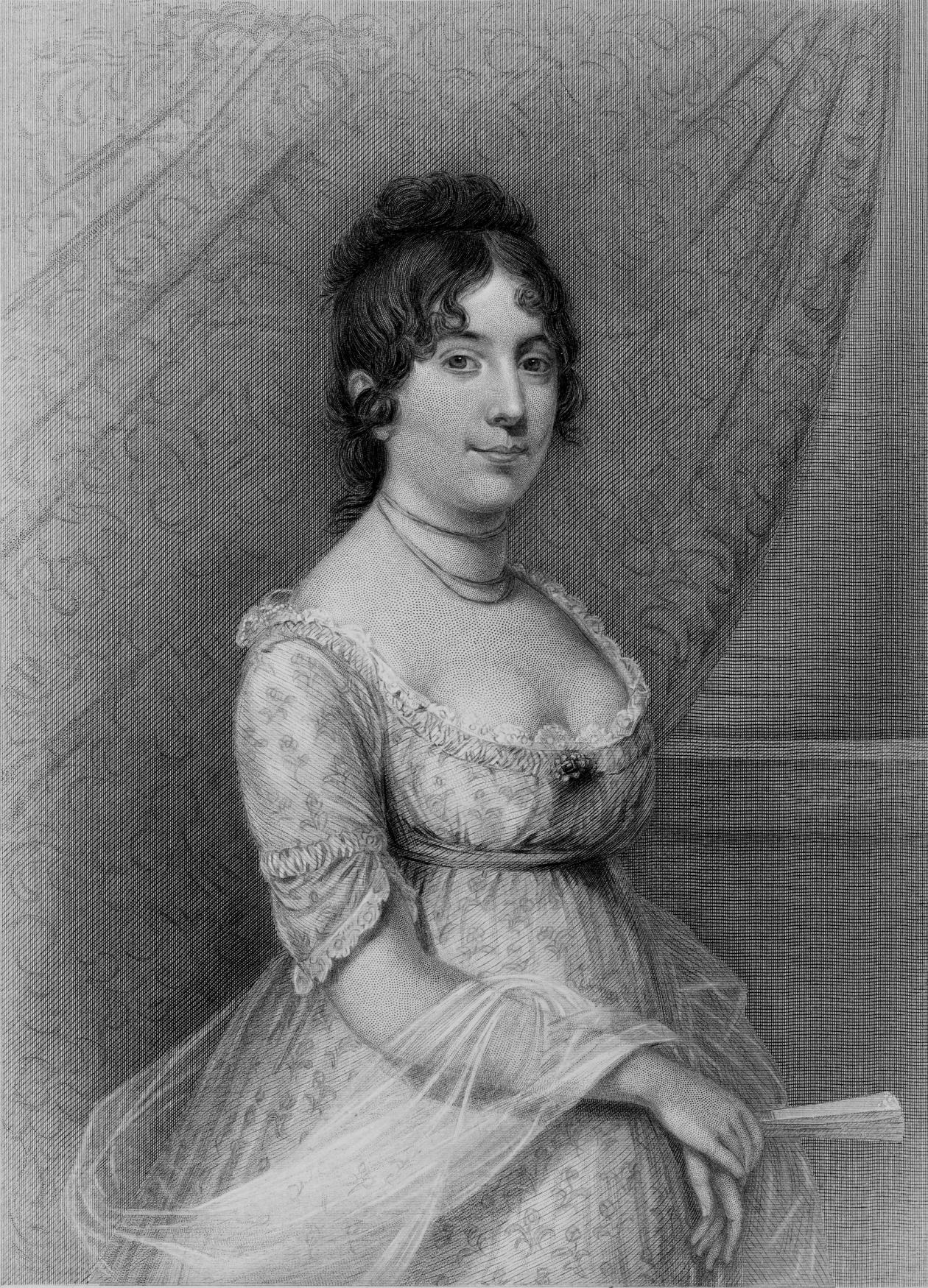 Dolley, seated, holding a fan, wearing a white lace dress with a scoop neckline
