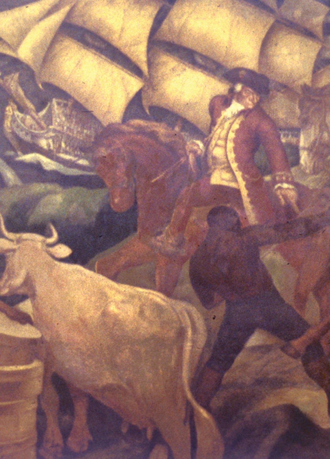 Mural depicting how planters utilized slaves in Rhode Island. Ships, cattle, horses, and bags of what appear to be wheat or sugar can be seen in it.