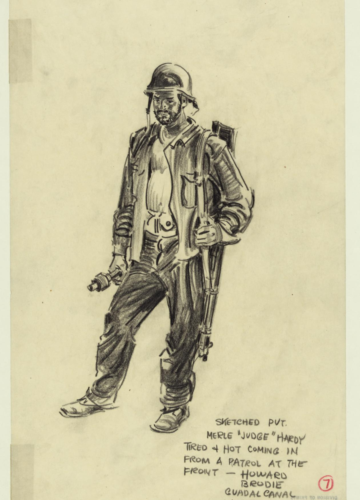 Sketch on yellow paper of an American soldier circa 1942.