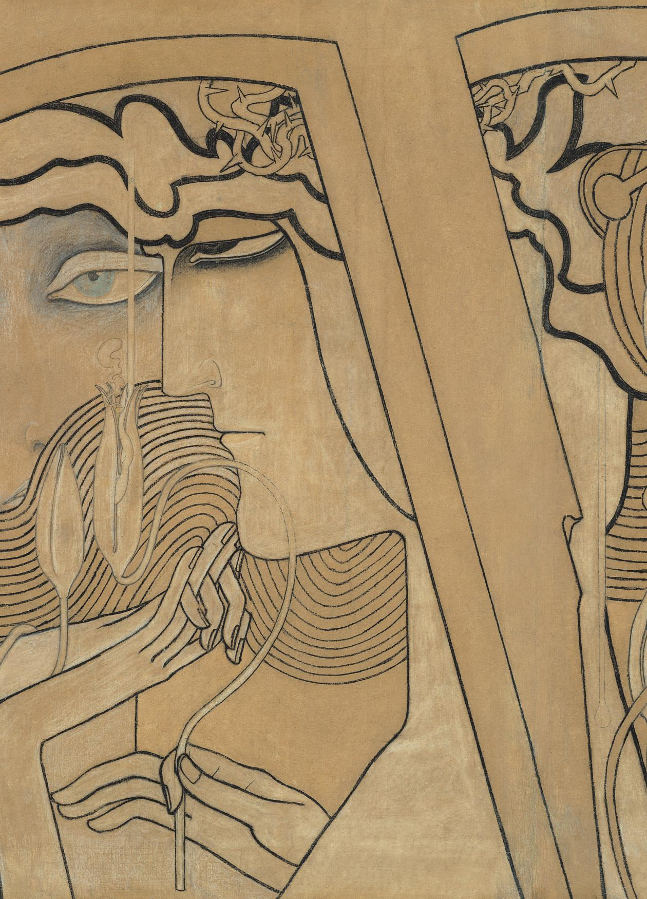 Brown / yellow painting by Jan Theodore Toorop depicting abstract faces.
