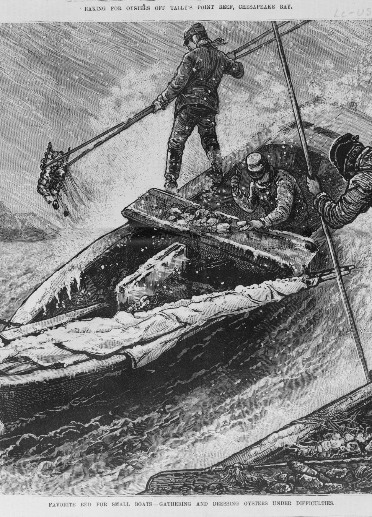 Engraving of men working on an oyster boat in choppy, stormy waters