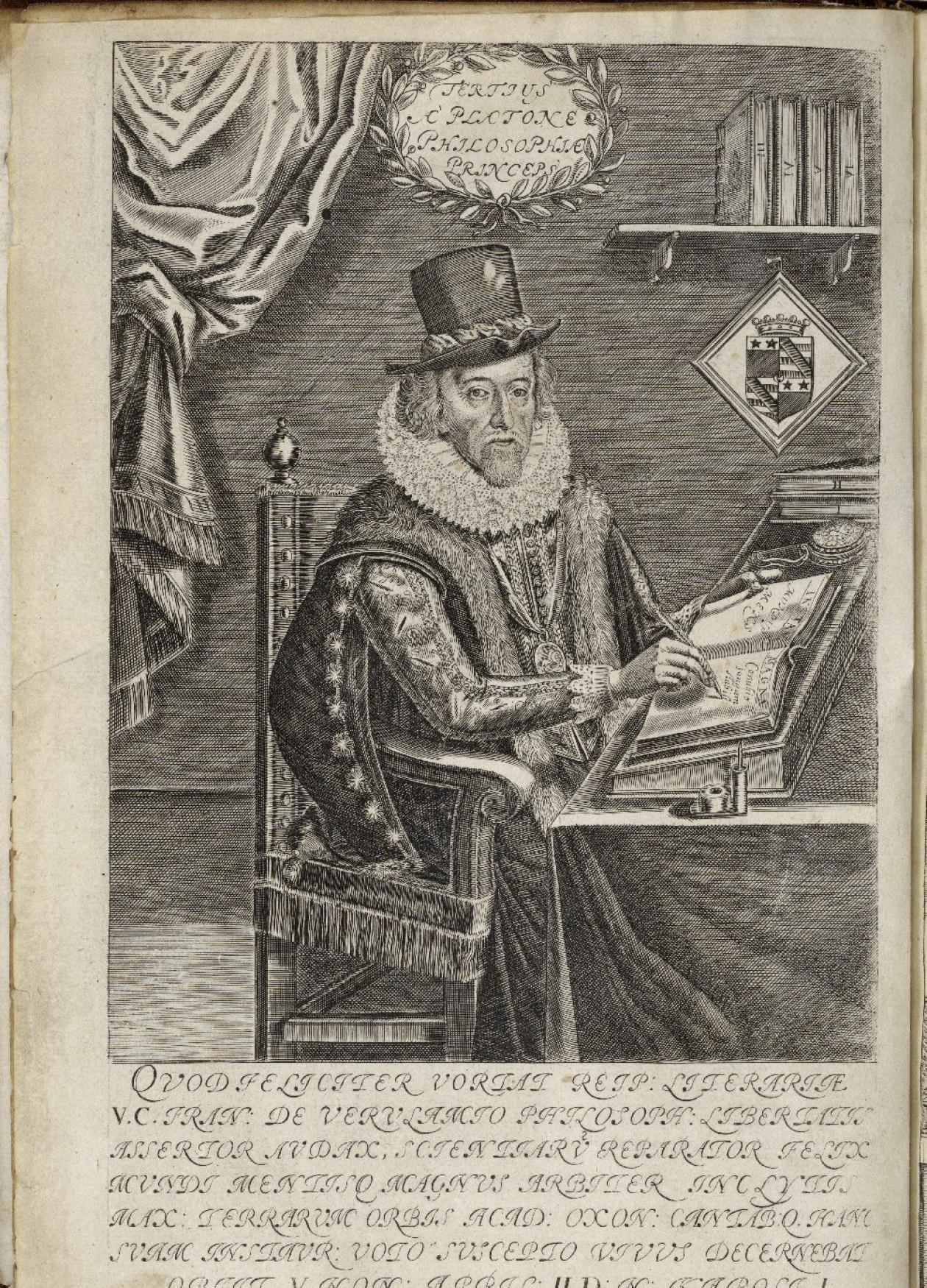 Sir Francis Bacon sitting at a desk, writing with a quill pen, dressed in a robe, fur scarf, top hat, and high ruffled lace collar