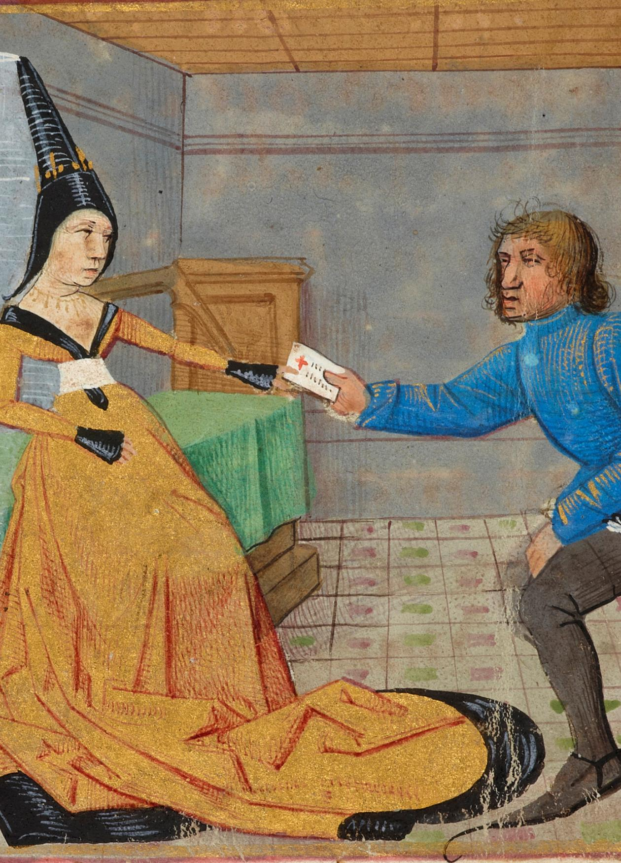 Painting of Genevieve in a yellow robe and King Mark on his knees, delivering a letter to her.