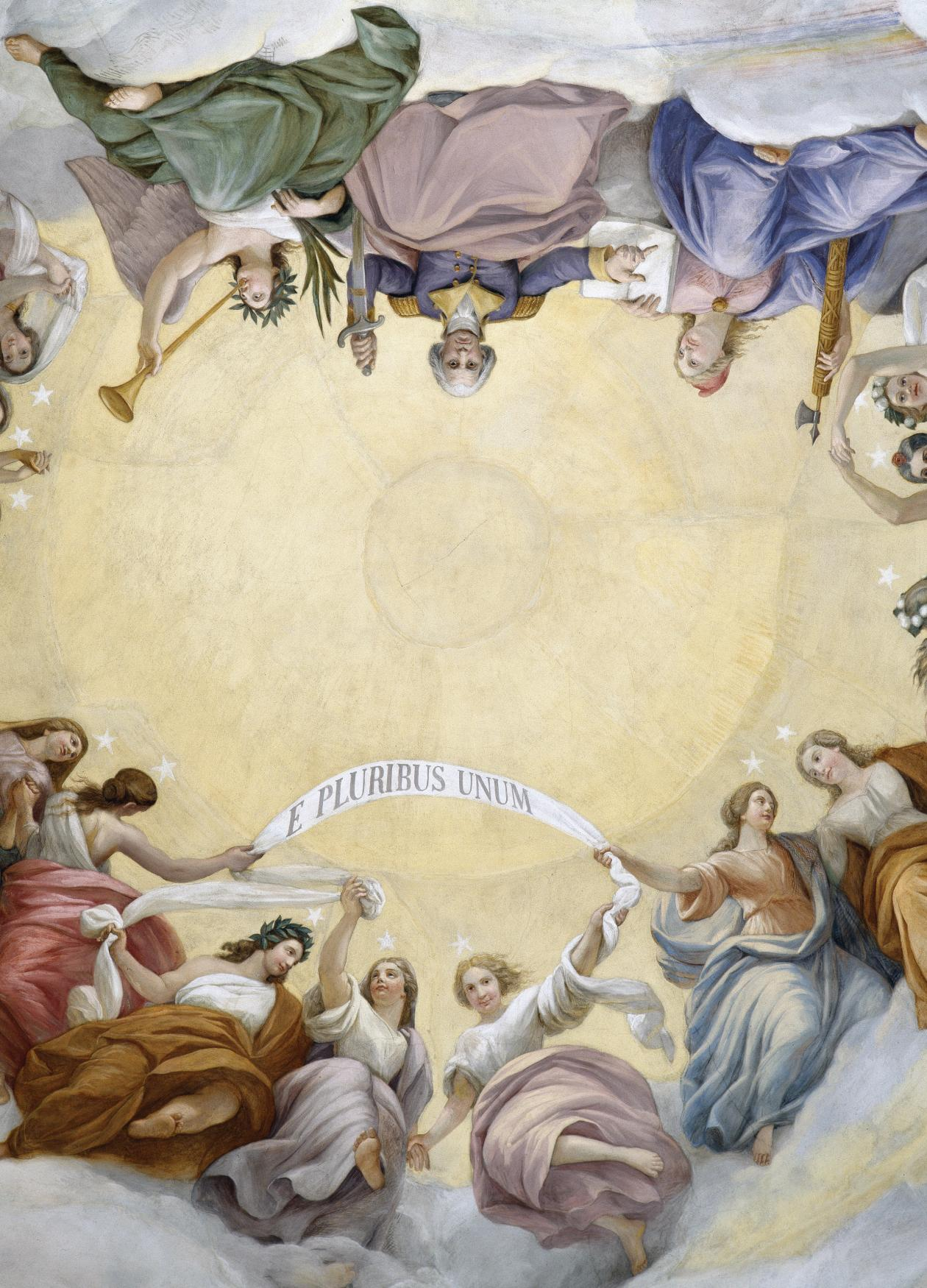 Ceiling fresco depicting the apotheosis of George Washington in the Capitol Rotunda.