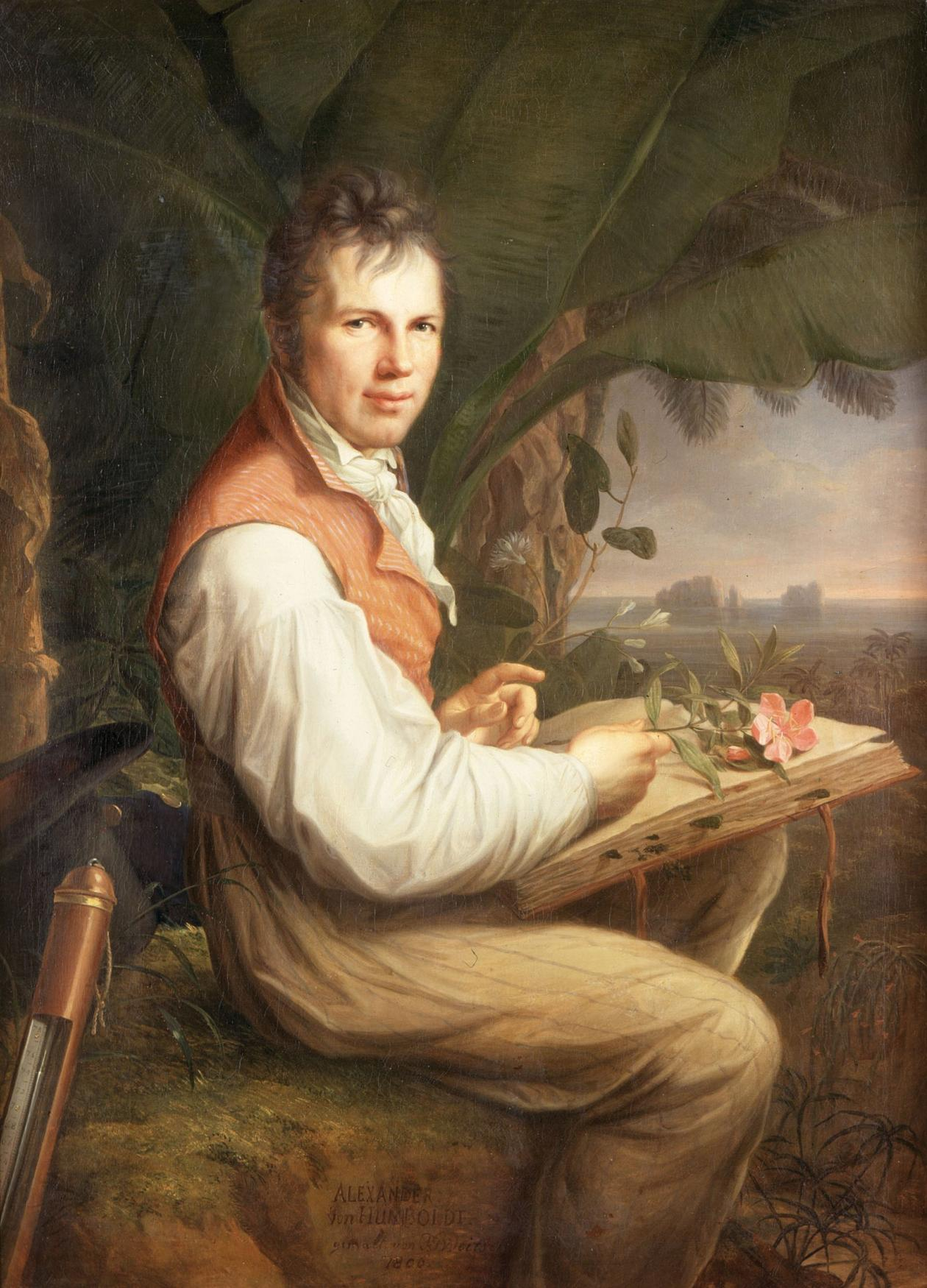 Painting of Alexander von Humboldt holding a large book with Venezuela's Orinoco river in the background.