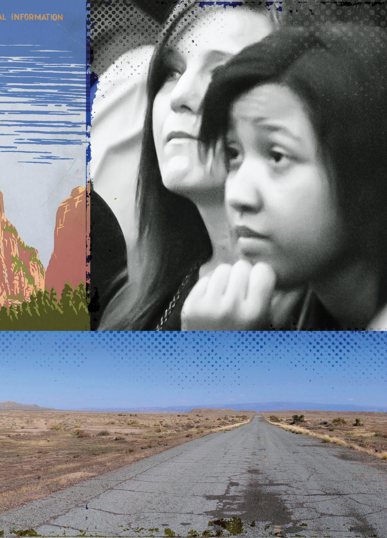 collage of photos showing students, rock formations, an open road, and a cracked stone path