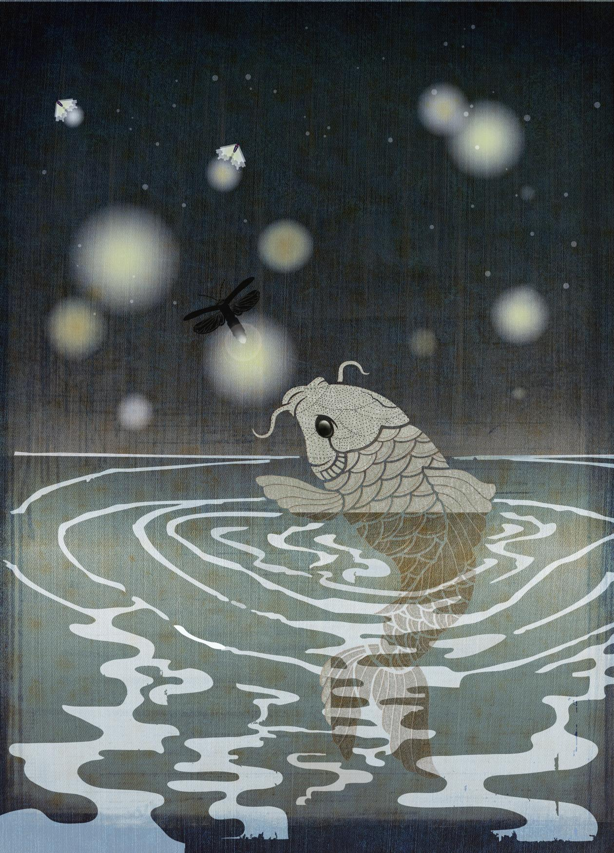 A silver koi fish coming out of water, under a night sky with orb-shaped stars