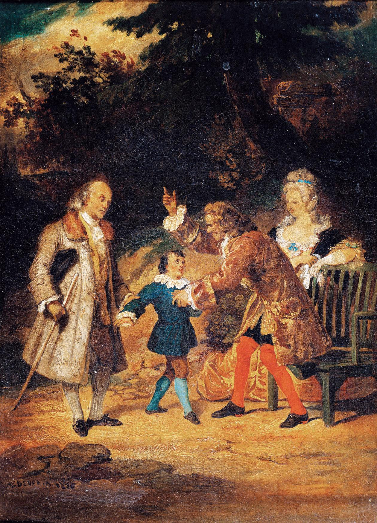 Oil painting of boy meeting three people