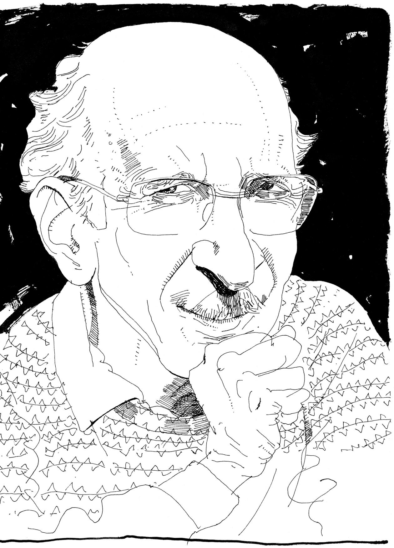 Drawing of Malamud, wearing rectangular glasses, collared shirt and a striped sweater, holding his fist to his chin and smirking at the viewer