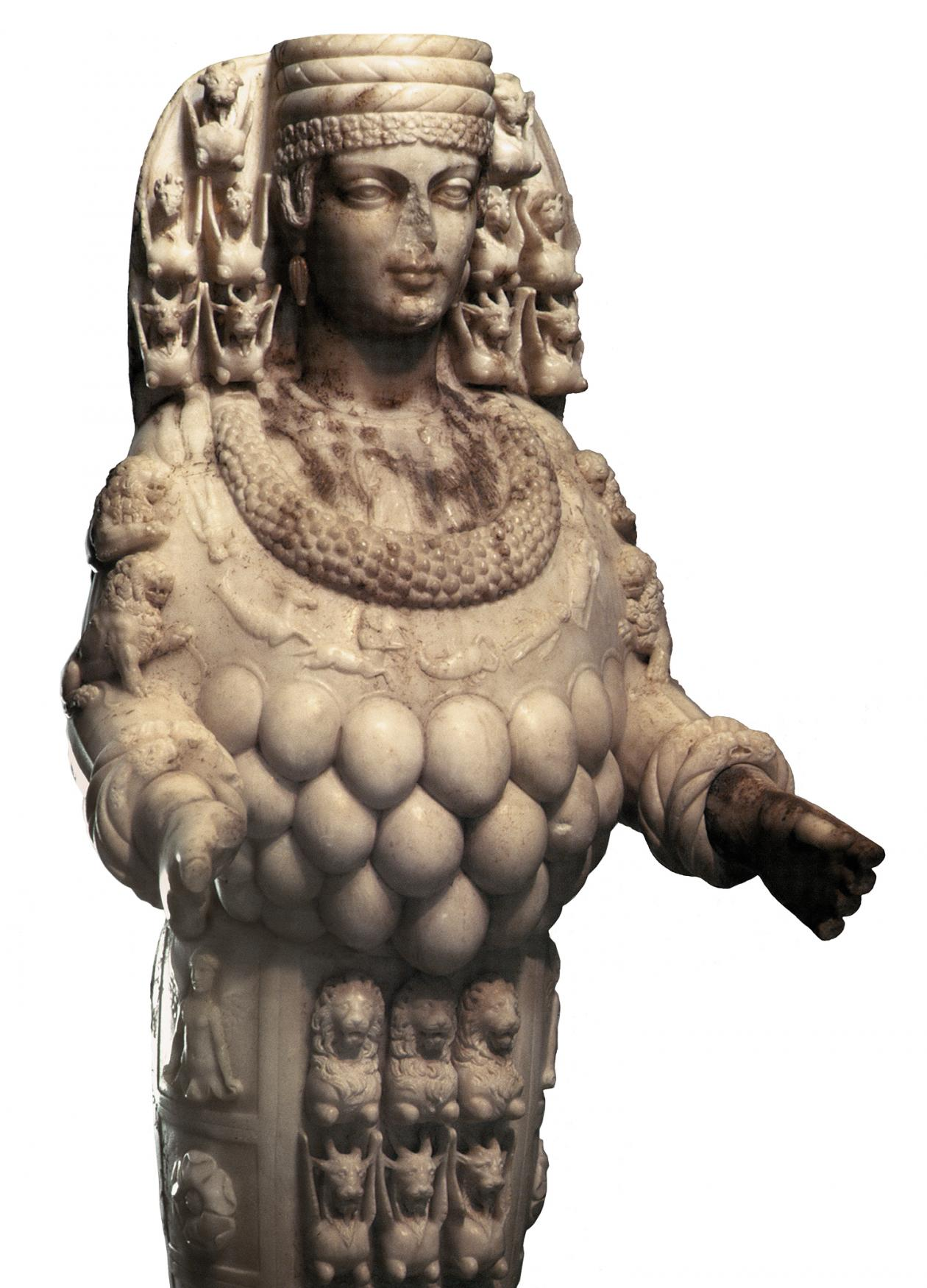 Photo of a marble statue of Artemis standing upright.