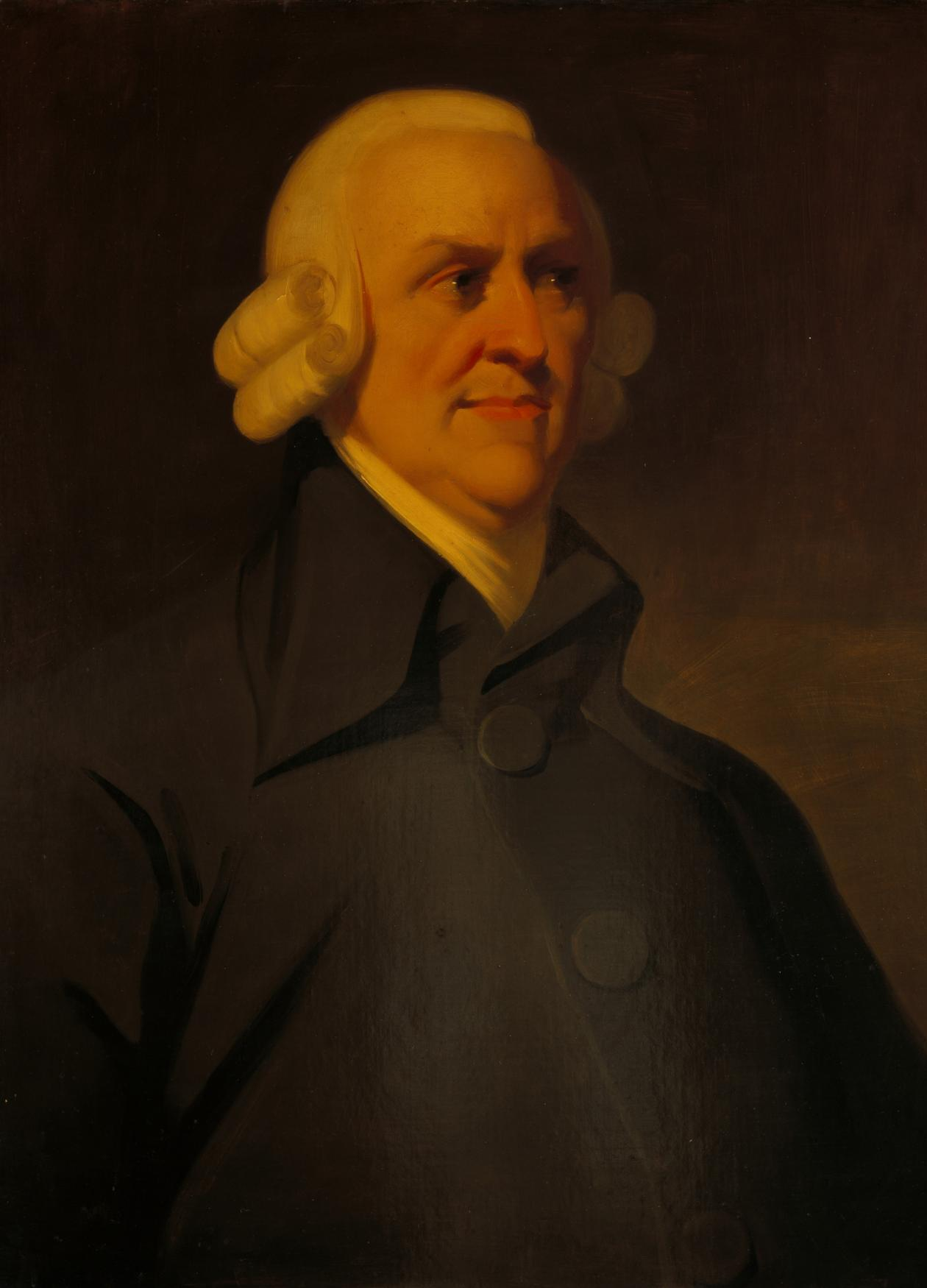 Adam Smith in a white wig and black coat with a high collar
