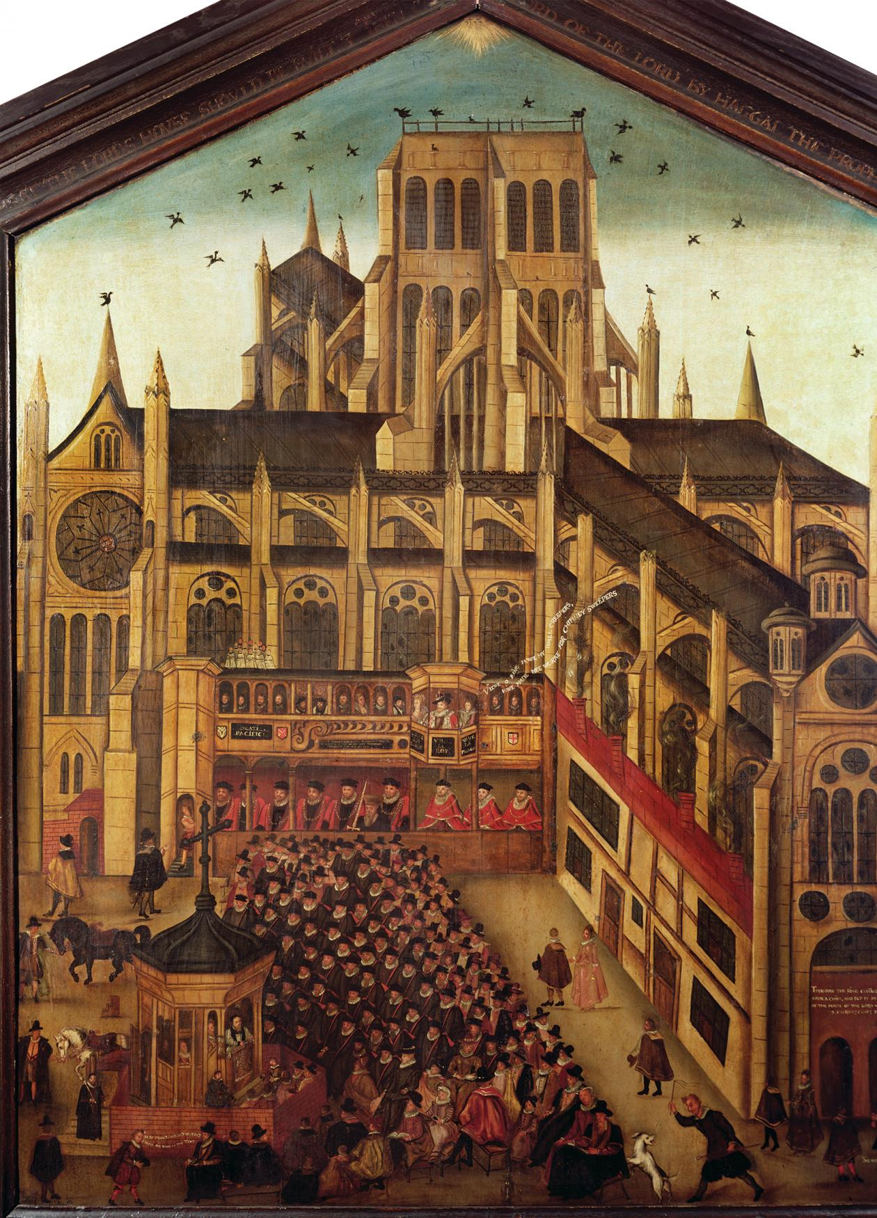 1616 drawing of Saint Paul's Cathedral, filled with church goers