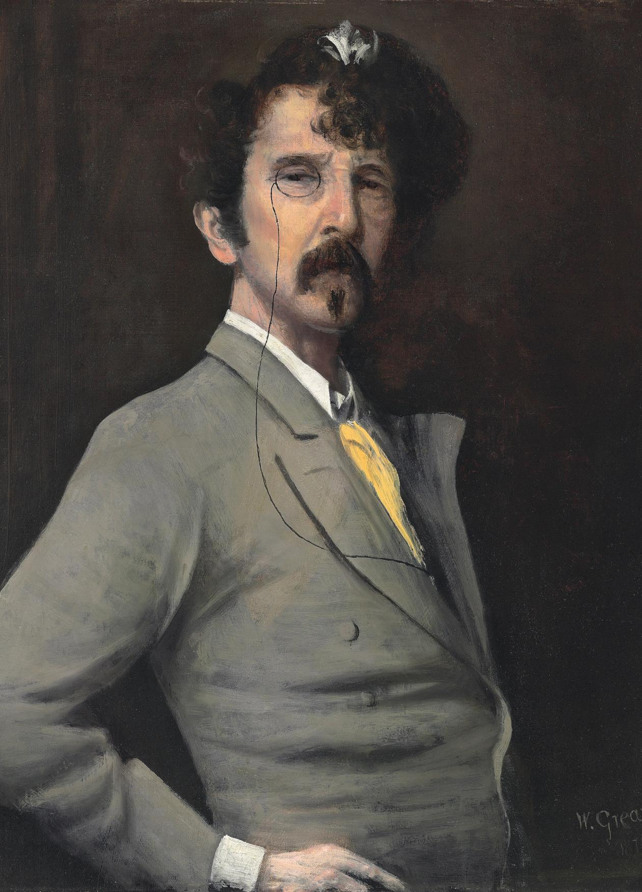 James Abbott McNeill Whistler in a grey suit and yellow tie, hand on his hip