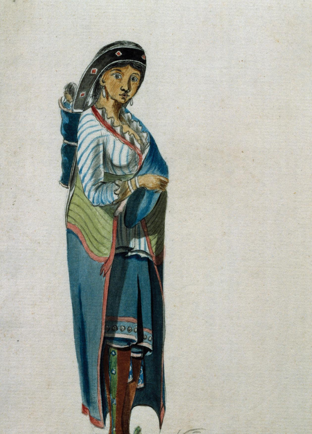Watercolor painting of a Mohawk woman, wearing traditional Mohawk clothing, carrying a baby on her back