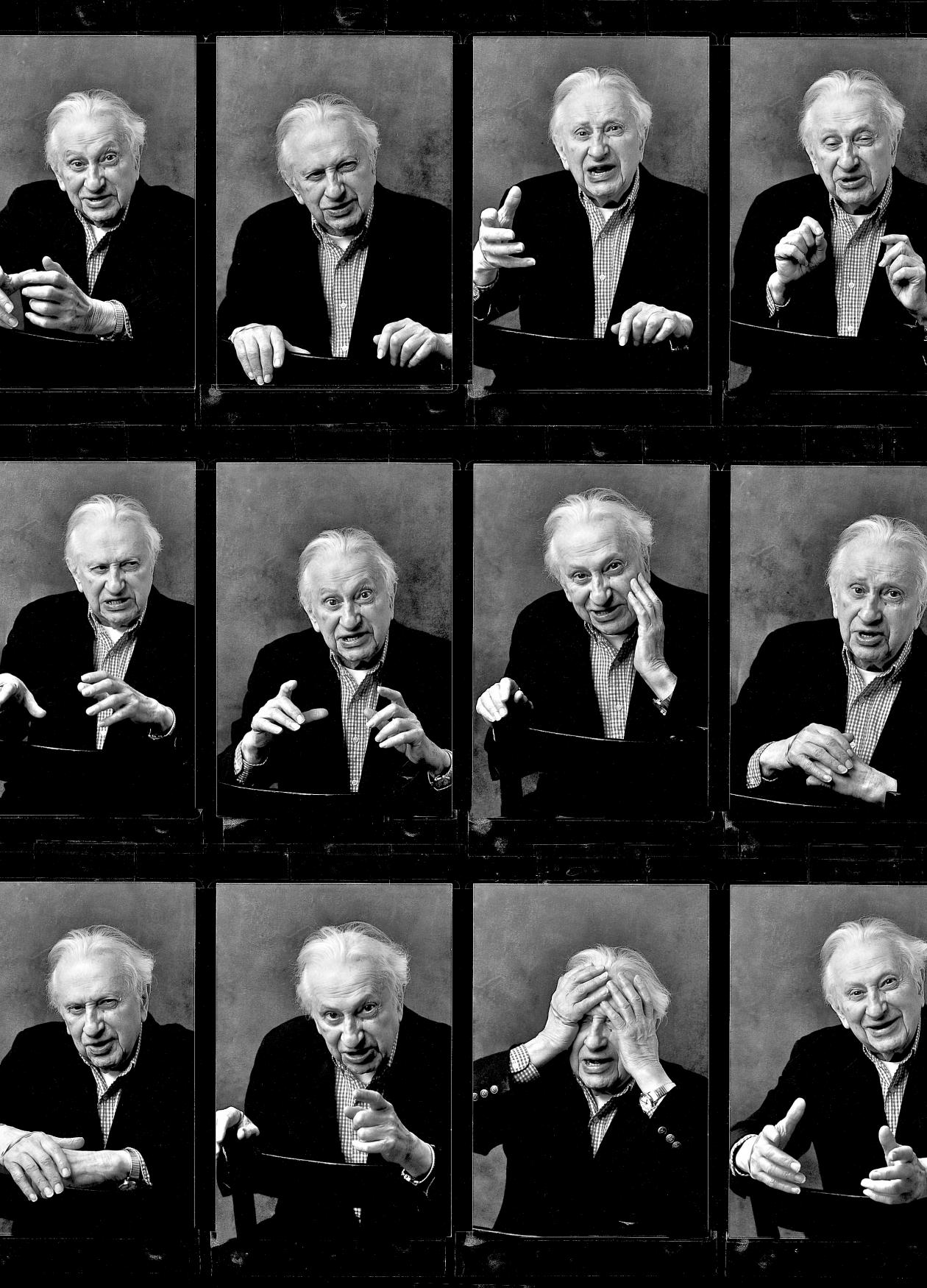 black and white photo montage of Studs Trekel
