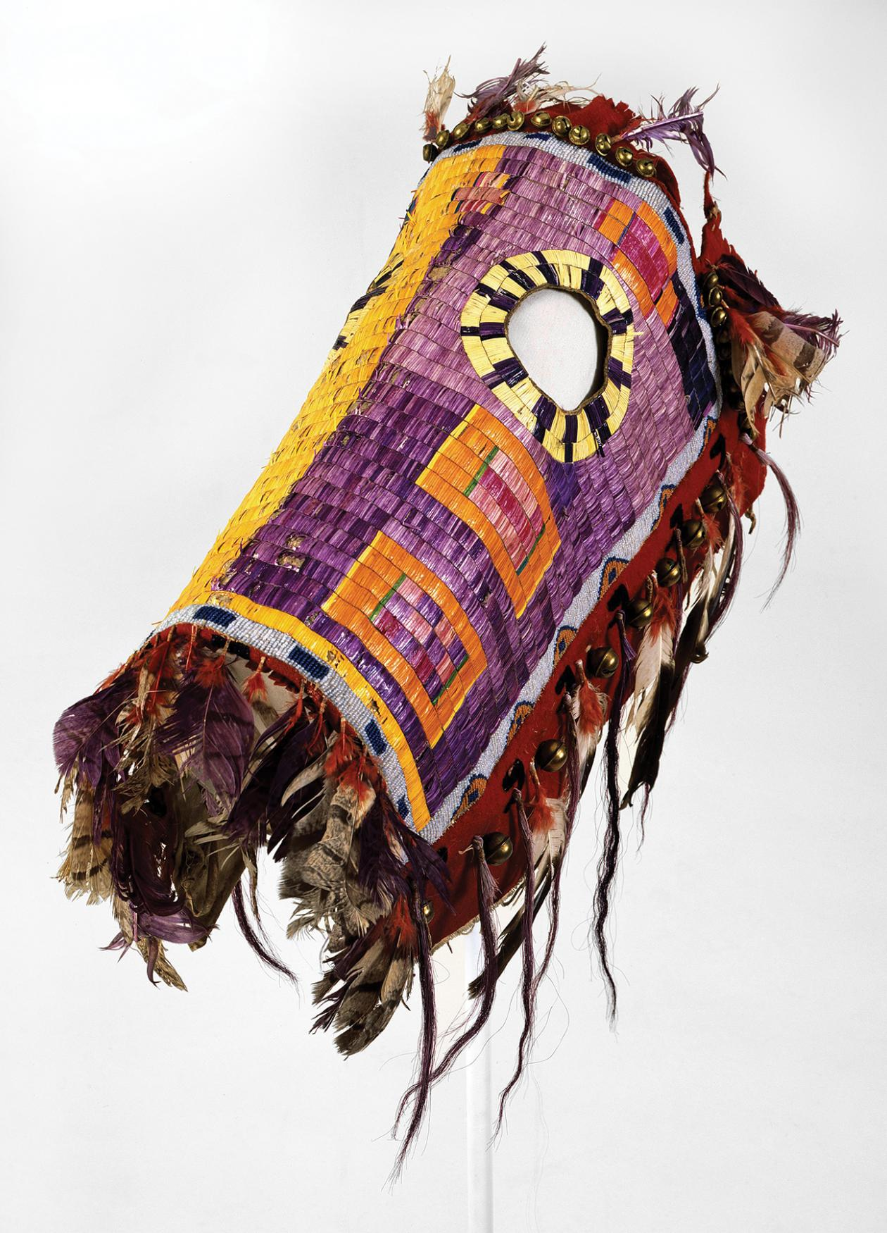 Photo of a colorful indigenous horse mask.