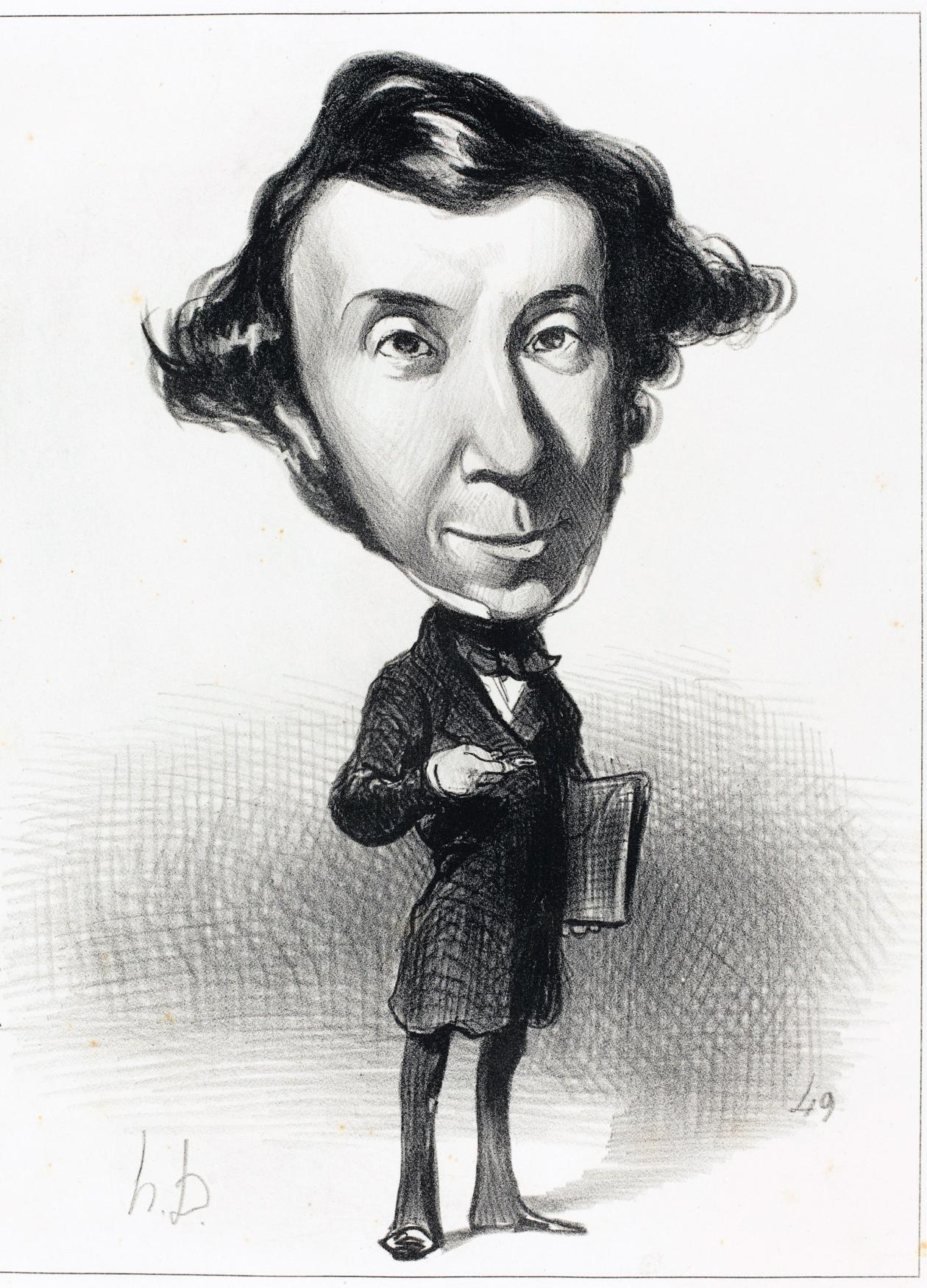 Toqueville with an extra large head and tiny, skinny body in a suit