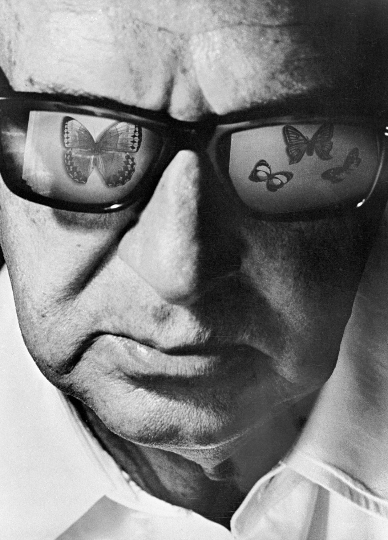 black and white close-up portrait of a man wearing glasses, which reflect butterflies