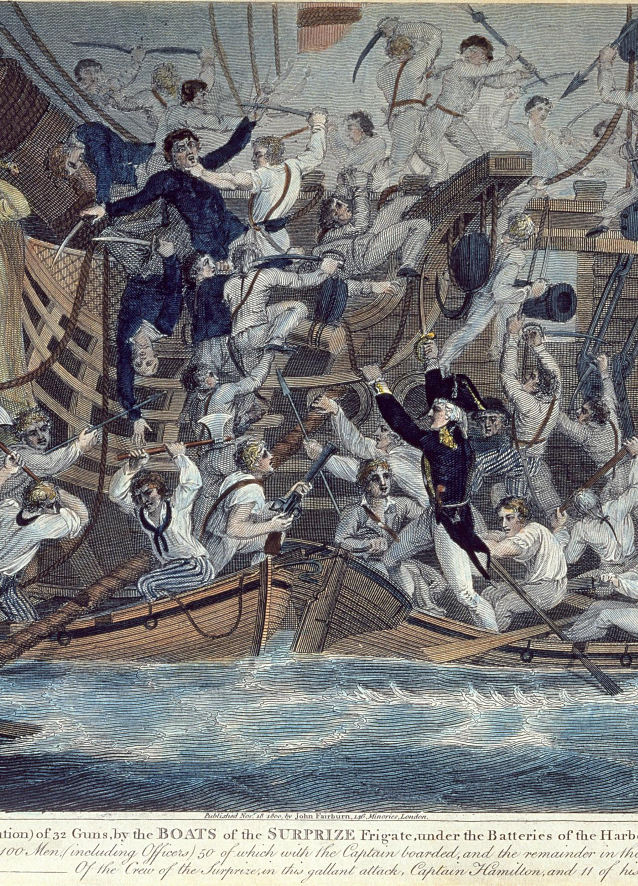 Painting of mariners rebelling against their captain and fighting among themselves aboard their ship.