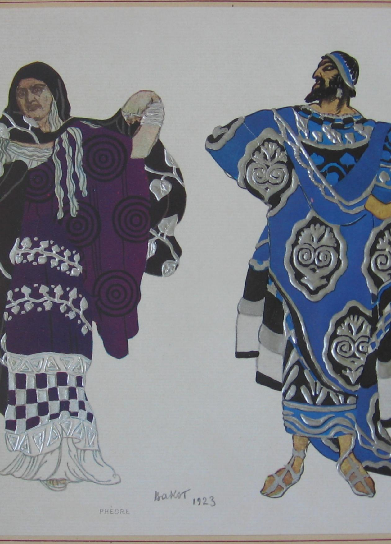 Costume design of Phèdre and King Theseus, 1923.