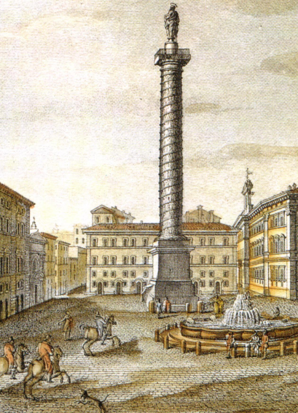 19th-century print of the fountain in the Piazza Colonna