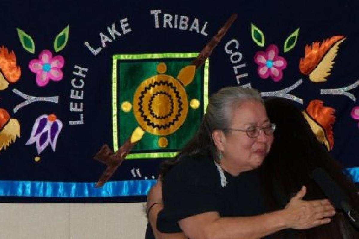 Photo of teacher and student at Leech Lake Tribal College
