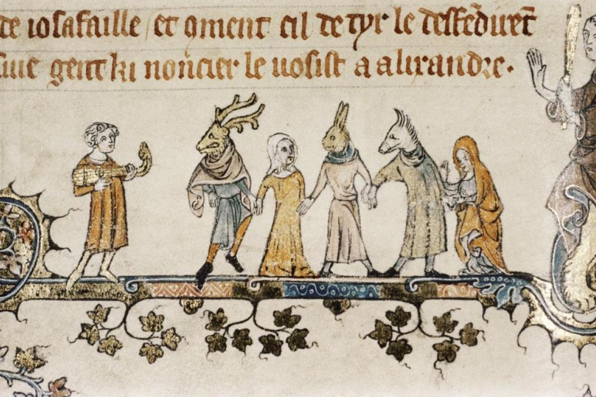 A medieval illustration of a musician and five costumed actors.