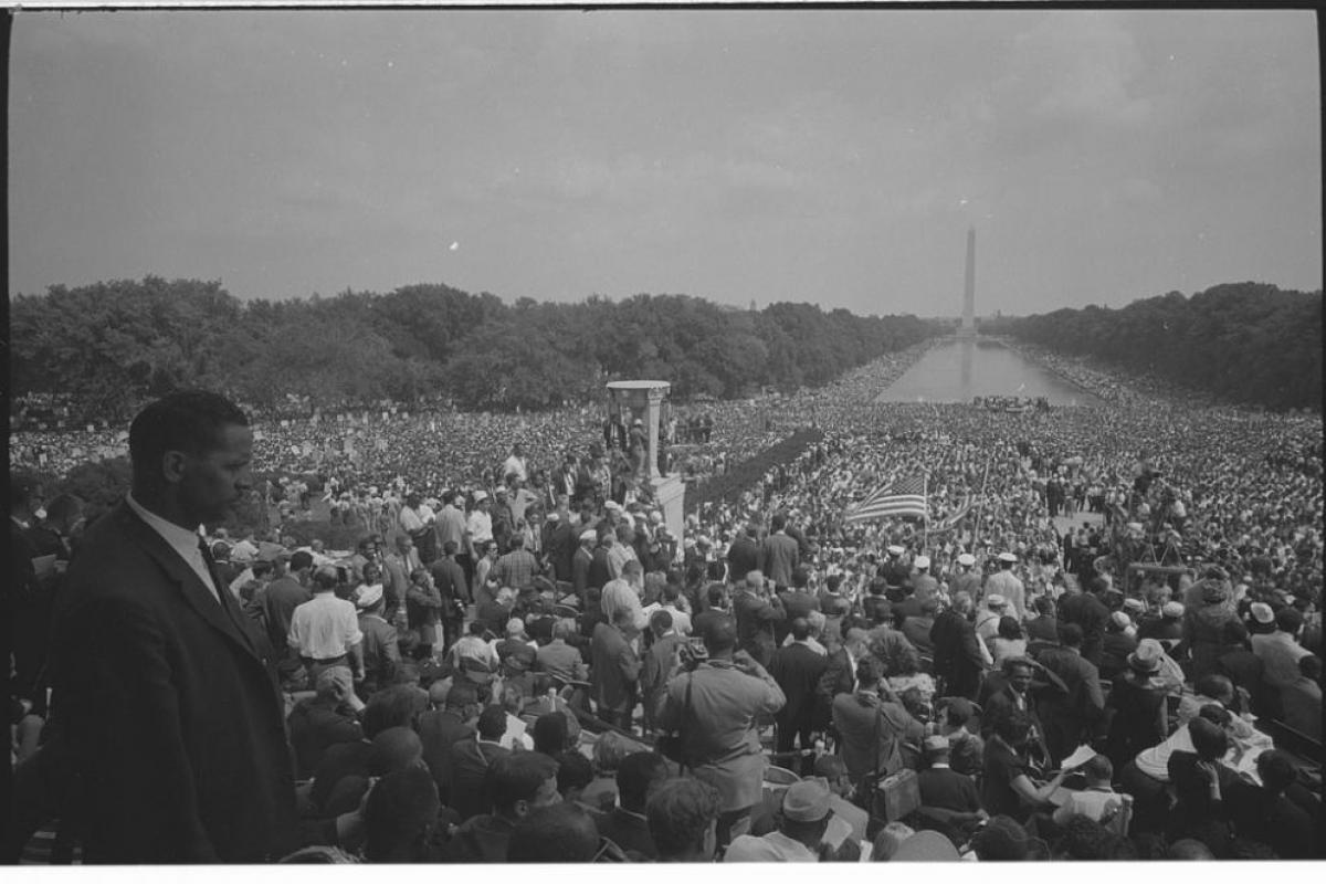 View of the crowd from the Lincoln Memorial during the March on Washington