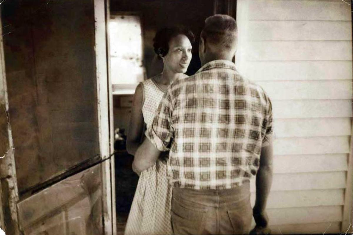 Robert and Mildred Loving, black and white photo