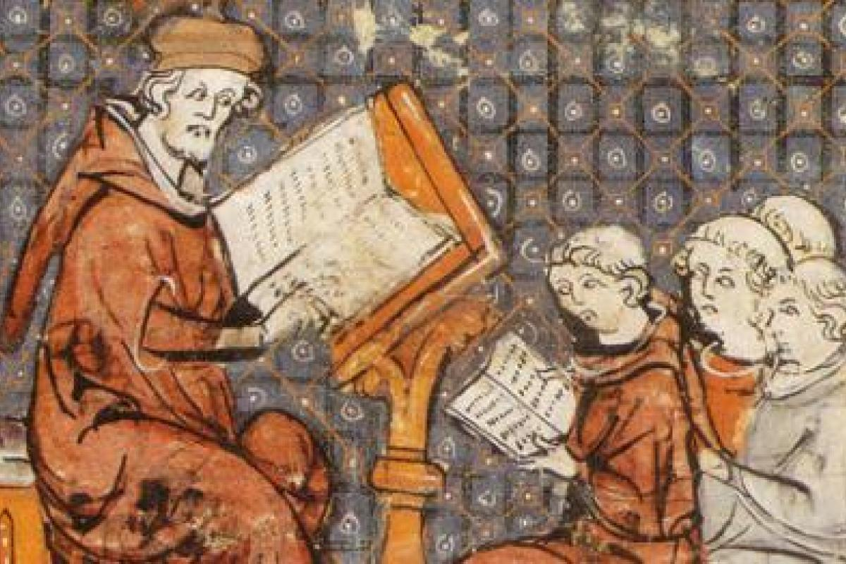 Class in a medieval university, illuminated manuscript from the 13th century.