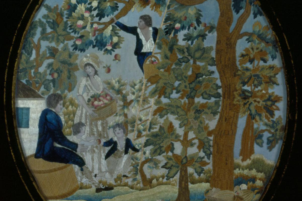 Needlework of people in a forest