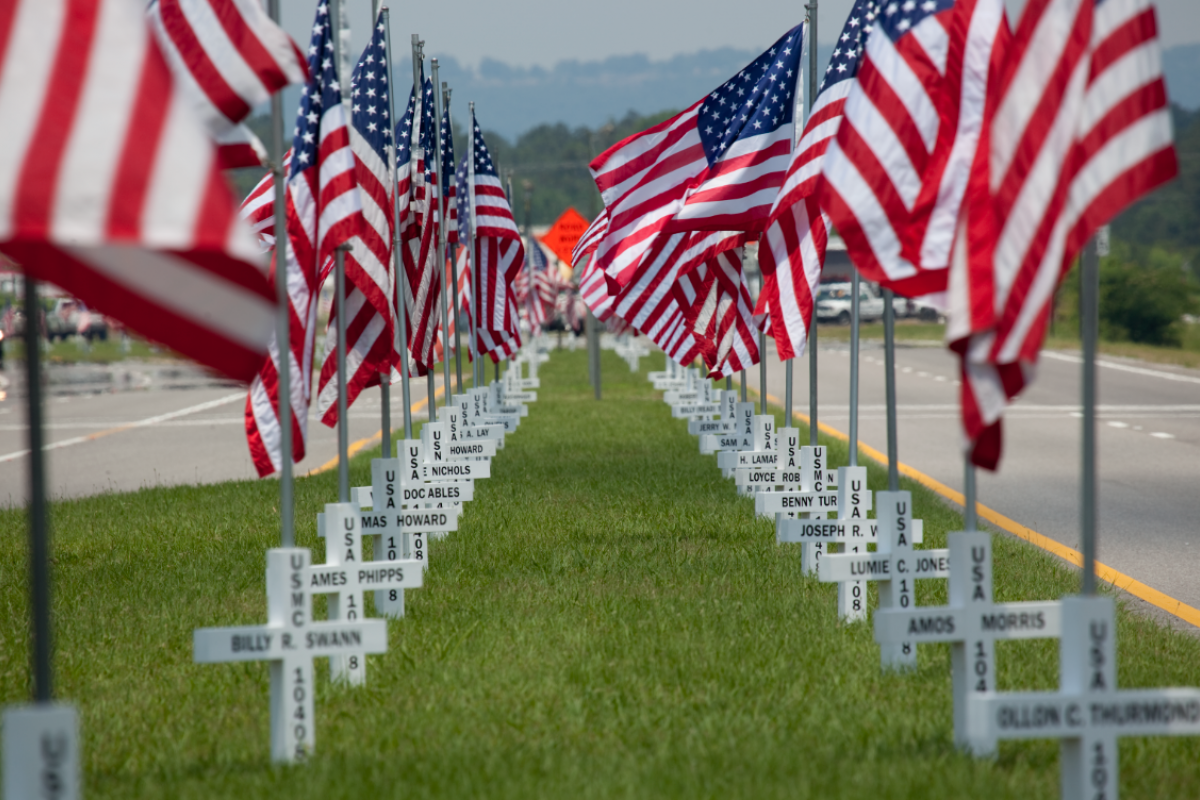 American flags fly over military graves