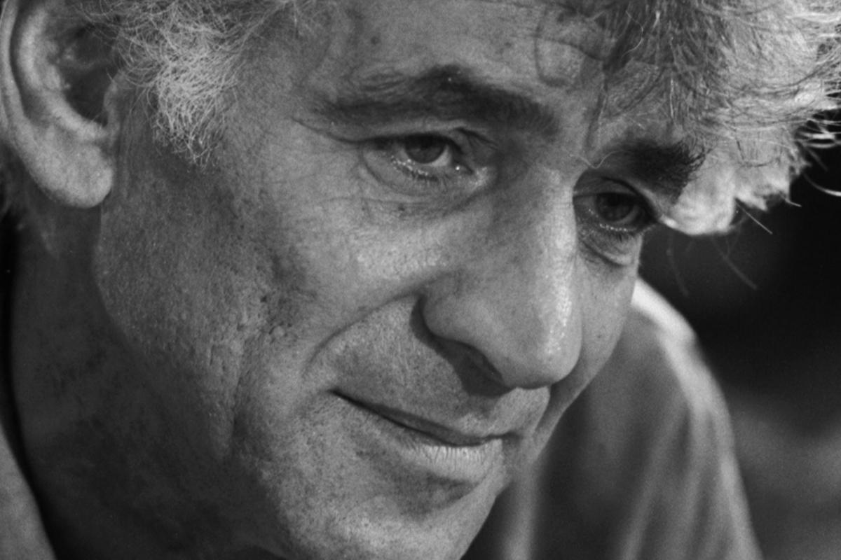 Black and white headshot of Leonard Bernstein