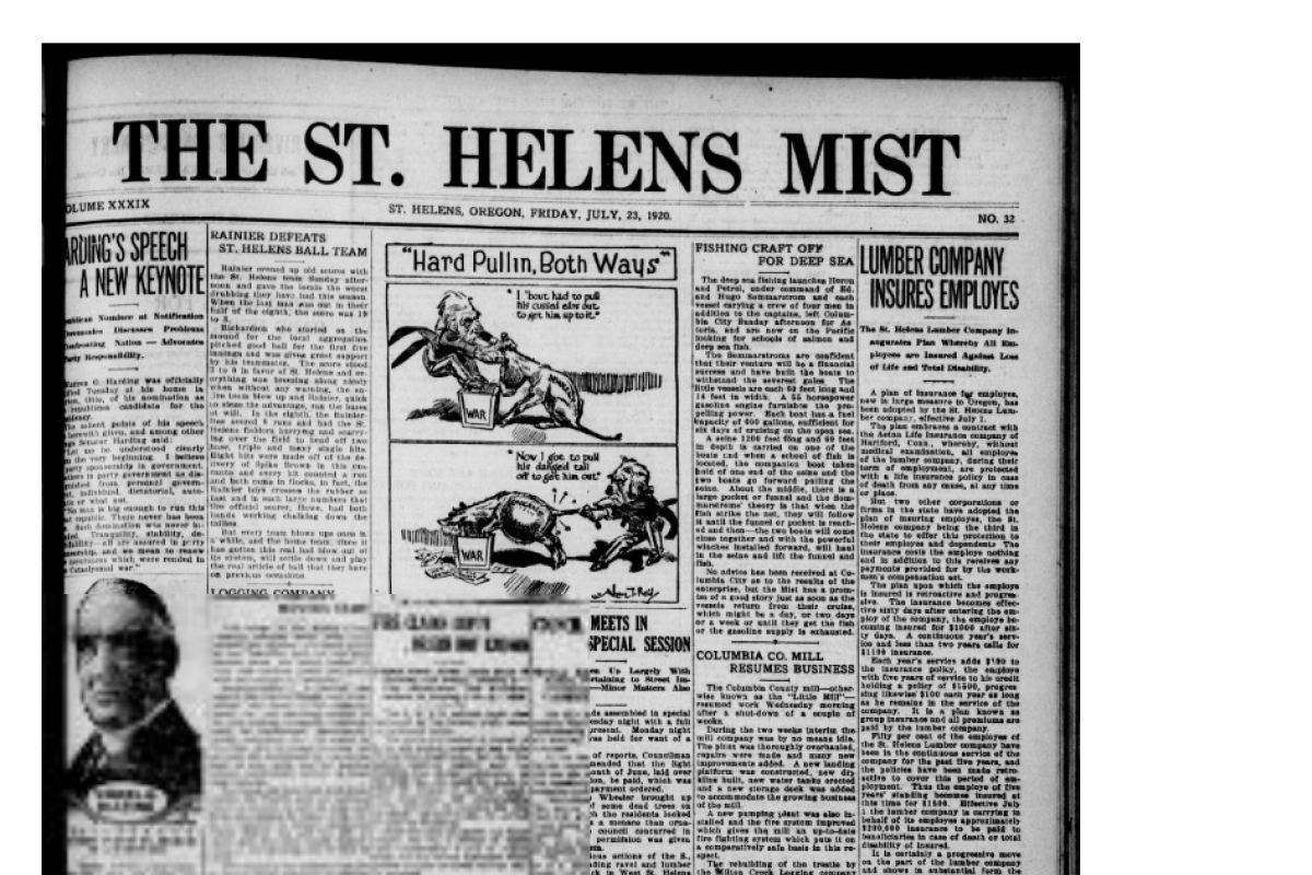 Newspaper front page, St. Helen's Mist