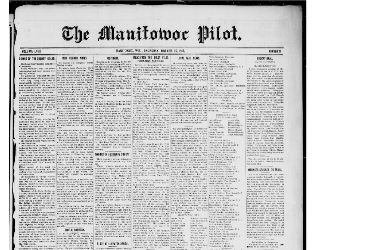 Newspaper front page, Manitowoc Pilot