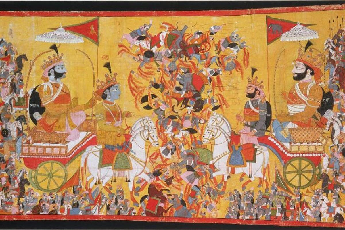 Arjuna and Krishna in a battle chariot against a gold background