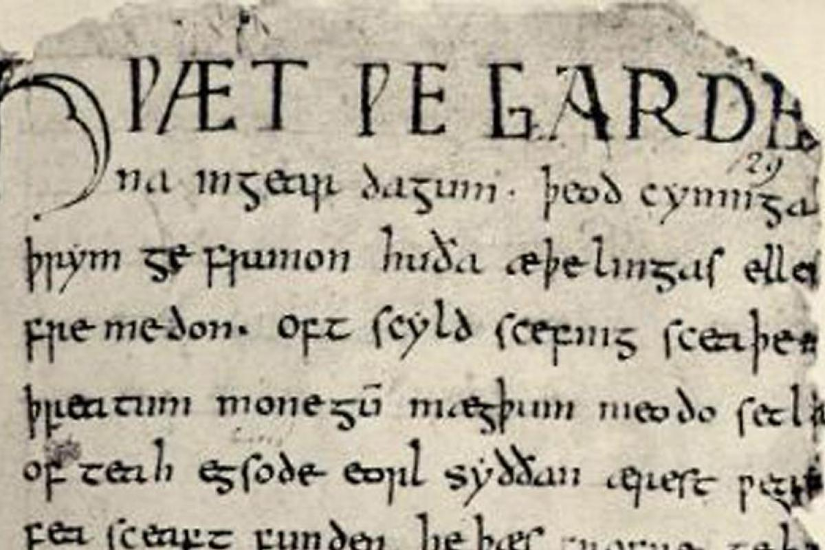 photo of Beowulf manuscript