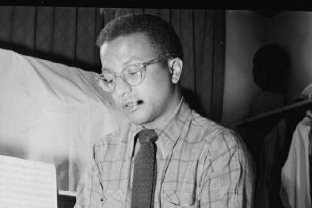 Black and white photograph of Billy Strayhorn
