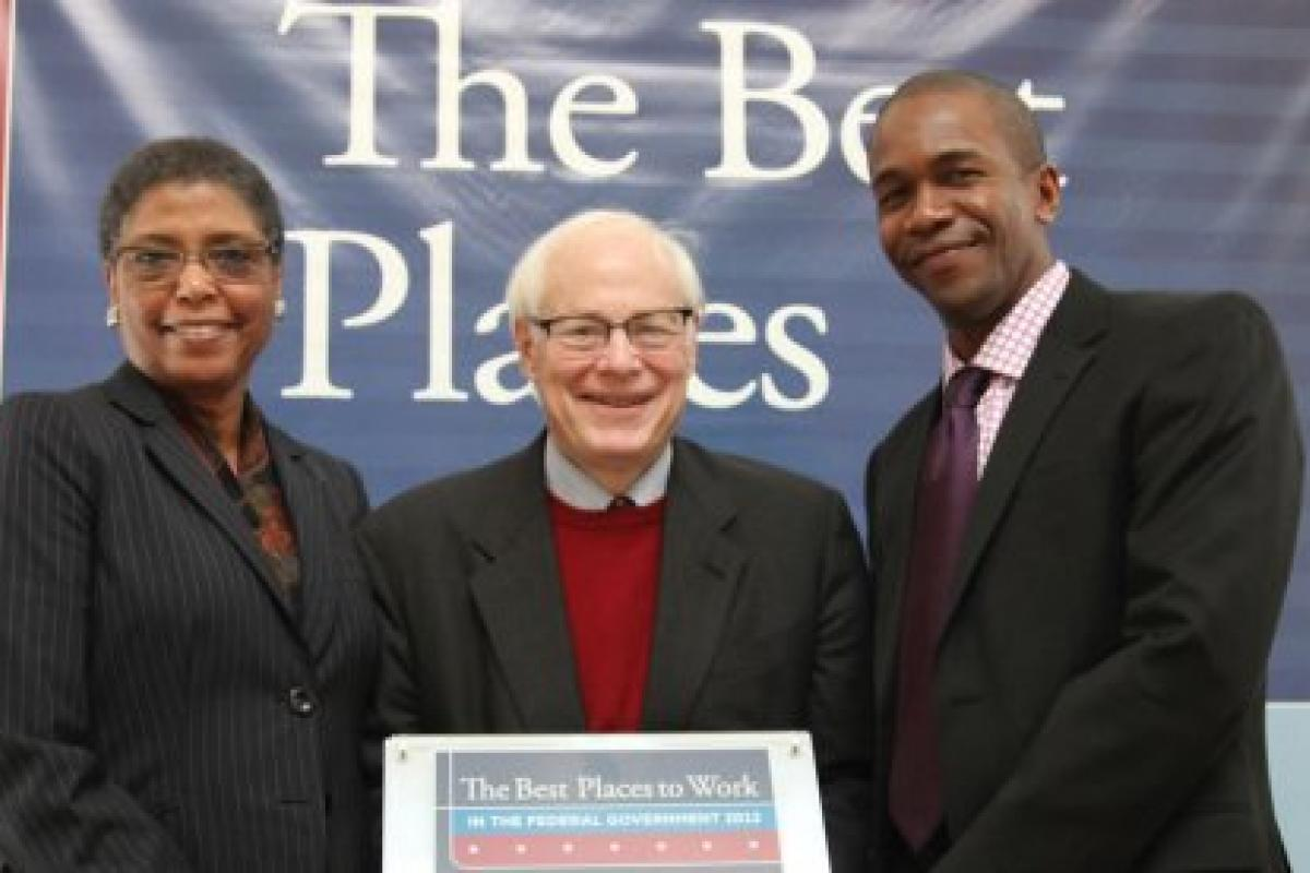 photo: Carole Watson, Jim Leach, Tony Mitchell of NEH, 2012 Best Places to Work