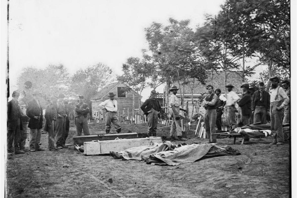 photograph, Burial of Union soldiers in Fredericksburg, VA, 1864